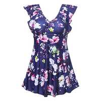 Plus Size Short Sleeves Wireless Swimdresses