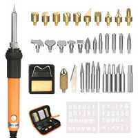 36Pcs Wood Burning & Soldering Iron Kit Magic Soldering Pyrography Tools Set