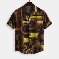 Mens Vintage Fashion Ethnic Pattern Printing Cotton Shirts