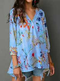 S-5XL Casual Women V-Neck Print Long Sleeve Chiffon Blouse