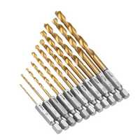 Drillpro 55Pcs 1/4 Inch Hex Shank Twist Drill Bit Set 1.5-6.5mm Titanium Coated HSS Twist Drill Bits