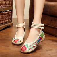 Flower Cloth Embroidered Shoes Vintage Folk Style Flower Flats