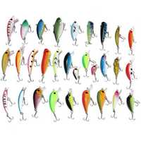 ZANLURE 30PCS Fishing Lures Stainless Steel PVC Crankbaits Hooks Minnow Baits Tackle