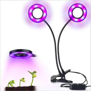 24W Daul Head LED Plant Grow Light Flexible Desk Clip Lamp for Vegetables Fruits Flowers Hydroponics