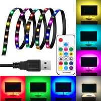 DC5V 1M 2M 3M WS2812 SMD5050 Waterproof Smart IC USB LED Strip Light+17 Keys Remote Control