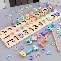 Wooden Magnetic Fishing Game Rods Fish Childrens Kids Wood Magnet Board Toys Puzzle games