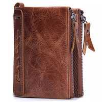 Men Genuine Leather Cowhide Men Vintage Short Wallet