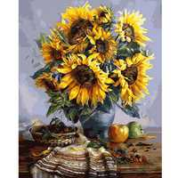 40X50CM Frameless Sunflower Canvas Linen Canvas Oil Painting DIY Paint By Numbers Home Wall Art