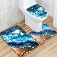 Flannel Mat Set Toilet Cover Set Non Slip Bathroom Underwater World Carpet Rug Floor Mat