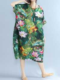 Lotus Printed Loose O-neck Half Sleeve Women Dresses