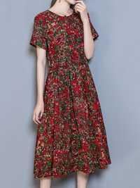 Vintage Short Sleeve Printed Elastic Waist Women Dresses
