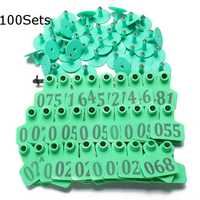 100Sets Green Animals CattleGoat Pig Sheep Use Ear Number Tag Livestock Tags Labels
