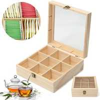 9 Compartments Tea Storage Box Jewelry Box Wooden Colour Container With Glass Top Chest Tin
