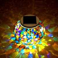 Garden Solar Power Mosaic Glass Ball Colorful LED Light Outdoor Waterproof Decoration Lamp