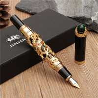 JINHAO Golden Dragon Heavy Fountain Pen Clip Medium Nib 18KGP Business Men Gifts