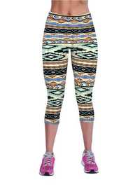 19 Colors Women High Waist Printing Stretch Workout Capri Leggings