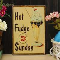 Hot Fudge Sundaes Sheet Iron Drawing Metal Painting Tin Cafe Pub Wall Poster Sign