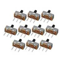 100pcs SS12d00G4 2 Gear 3 Pin Toggle Switch Slide Switch Interruptor On-Off Horizontal Handle Type Handle Length 4mm