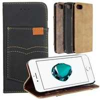 PU Leather Wallet Case With Kickstand Card Slots For iPhone 7/iPhone 8