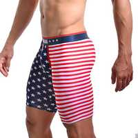 Mens Sexy American Flag Printing U Convex Pouch Underwear Casual Sports Pants