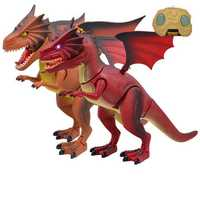 Infrared RC Electronic Remote Control Dinosaur Jurassic Fire dragon T-Rex Model Sound Light Toys