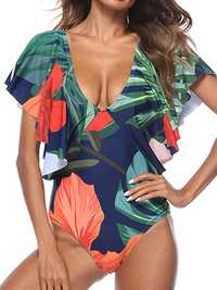 Sexy Floral Printing Deep V Padding One Piece Swimsuit