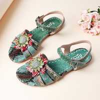 SOCOFY Serpentine Floral Hook Loop Genuine Leather Sandals