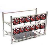 16GPU Mining Frame Case Aluminum Mining Case Miner Mining Supply Case with 12Pcs LED Fan