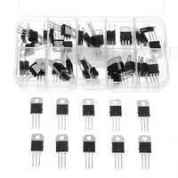 50Pcs 10value LM317T L7805 L7806 L7808 L7809 L7810 L7812 L7815 L7818 L7824 Transistor Assortment Kit Voltage Regulator Box
