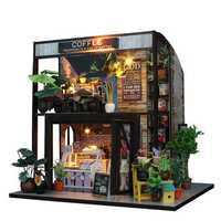DIY Cottage Dollhouse Coffee Bar Furniture Handmade Craft Doll House With LED Light
