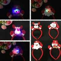 LED Single Headband Hair Band Christmas Santa Deer Snowman Bear Pattern with RGB Light