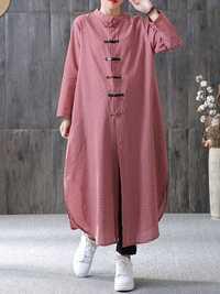 Women Plaid Plate Buckle Long Sleeve Shirt Dress
