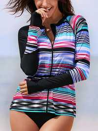 Zipper Front Sun Protection Swimwear