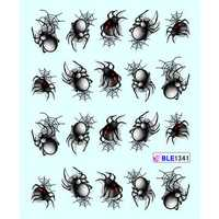 1 Sheet Spider Nail Art Sticker Halloween Style Water Transfer Manicure Decoration Nails Wraps