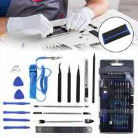 75 in 1 Screwdriver Socket Bit Set Kit + PC Phone Repair Opening Tool Kit Ruler Tongs Tweezers Remover