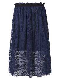 Elegant Women High Waist Lace Crochet Party Midi Skirt