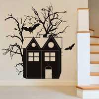 Creative Halloween Haunted House Bat PVC Waterproof Wall Sticker Removable Vinyl Art Mural Decoration Stickers Environmental Protection Halloween Wall Sticker Window Home Decoration Decal Decor