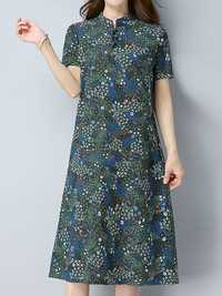 Floral Printed Chinese Style A-Line Short Sleeve Elegant Women Dress