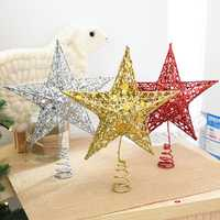 Christmas Tree Topper Star Plastic Christmas Star Tree Topper for Christmas Table Decor Colorful Craft DIY Accessories