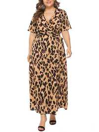 Plus Size Leopard Print V-neck Short Sleeve Long Dress