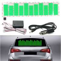 Car Music Rhythm LED Flash Light Sound Activated Equalizer Car Sticker Green 45x11cm