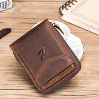Men Genuine Leather Zipper Vintage Wallet