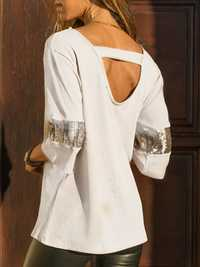 Sequin Patchwork Backless Blouse