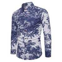 Mens Flowers Printing Casual Tropical Shirts
