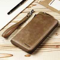 Men Genuine Leather Vintage Card Holder Wallet Phone Bag
