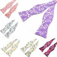 PenSee Men's Bow Ties Leisure Pattern Paisley Jacquard Woven Silk Neckties Accessory