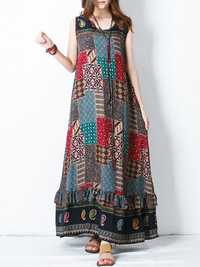 S-5XL Bohemian Printed Maxi Dress