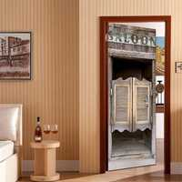 Tavern Wooden Door Self Adhesive Mural Decals 3D Wall Sticker Home Room Decor