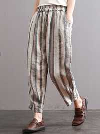 S-5XL Vintage Women Stripe Elastic Waist Radish Pants