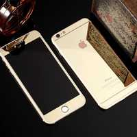 Plating Mirror Tempered Glass Protective Film Set Front + Back Screen Protectors For iPhone 7